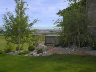 'Lewis & Clark' sandstone path leading to a private deck overlooking Gallatin Valley.